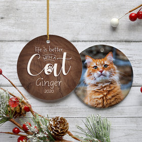 Personalized 'Life is Better With a Cat' Christmas Ornament