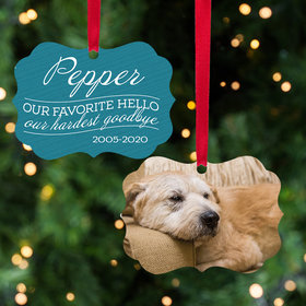 Personalized Our Favorite Hello, Our Hardest Goodbye - Pink Dog Christmas Ornament