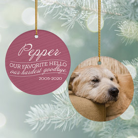 Personalized 'Our Favorite Hello, Hardest Goodbye' Dog Christmas Ornament