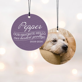 Personalized Our Favorite Hello - Pink Dog Christmas Ornament