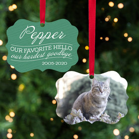 Personalized Our Favorite Hello, Our Hardest Goodbye - Pink Cat Christmas Ornament