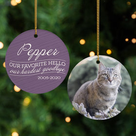 Personalized 'Our Favorite Hello, Hardest Goodbye' Cat Christmas Ornament