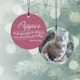 Personalized Our Favorite Hello - Pink Cat Christmas Ornament