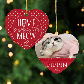 Personalized Cat 'Home is Where the Meow is' Christmas Ornament