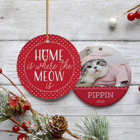 Personalized 'Home Is Where The Meow Is' Christmas Ornament