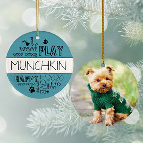 Personalized 'Woof Play Good Dog' Christmas Ornament