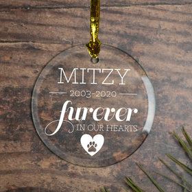 Personalized Furever in Our Hearts - Cat Christmas Ornament