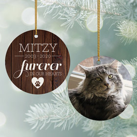 Personalized 'Furever In My Heart' Cat Memorial Christmas Ornament