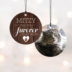 Personalized Furever in OUR Hearts Christmas Ornament - Cat