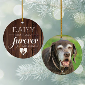 Personalized 'Furever in Our Hearts' Pet Memorial Photo Christmas Ornament