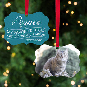Personalized My Favorite Hello, My Hardest Goodbye - Pink Cat Christmas Ornament