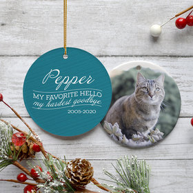 Personalized 'My Favorite Hello, Hardest Goodbye' Cat Memorial Christmas Ornament