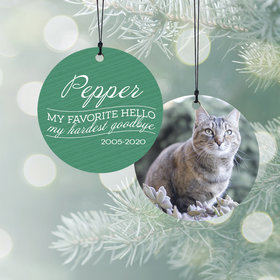 Personalized My Favorite Hello - Pink Cat Christmas Ornament