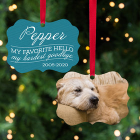 Personalized My Favorite Hello, My Hardest Goodbye - Pink Dog Christmas Ornament