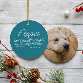 Personalized 'My Favorite Hello, Hardest Goodbye' Dog Memorial Christmas Ornament