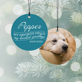 Personalized My Favorite Hello - Pink Dog Christmas Ornament