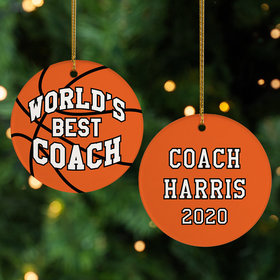 Personalized Best Basketball Coach Christmas Ornament