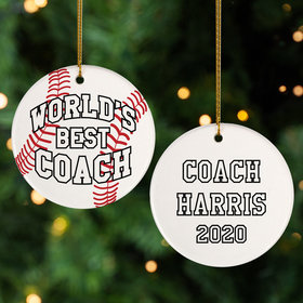 Personalized Best Baseball Coach Christmas Ornament