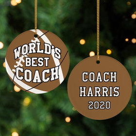 Personalized Best Football Coach Christmas Ornament