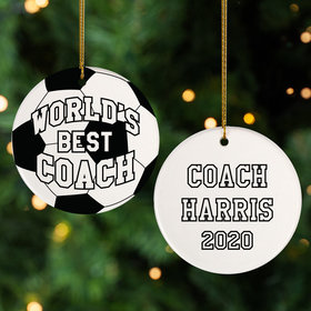 Personalized Best Soccer Coach Christmas Ornament