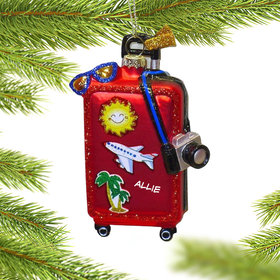 Personalized Travelers Suitcase Christmas Ornament