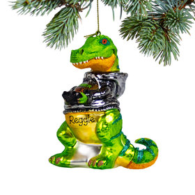 Personalized Dino Gamer Christmas Ornament