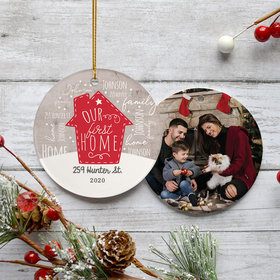 Personalized Our First Home Photo Christmas Ornament