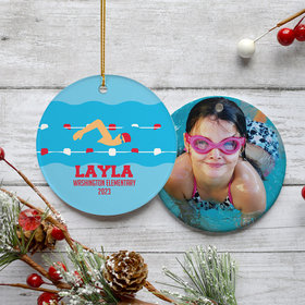 Personalized Swimming Christmas Ornament