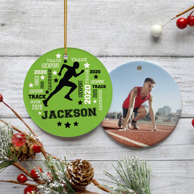 Personalized Track Runner Photo Christmas Ornament