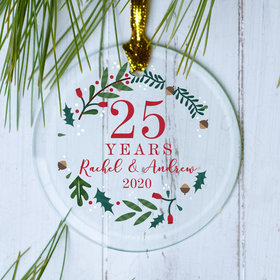 Personalized Anniversary Wreath Christmas Ornament