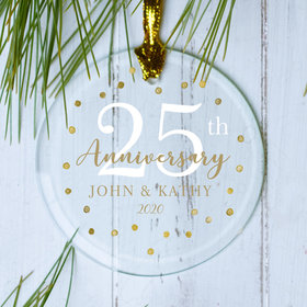 Personalized Gold Dots 25th Christmas Ornament