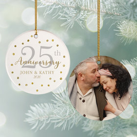 Personalized 25th Anniversary Photo Christmas Ornament