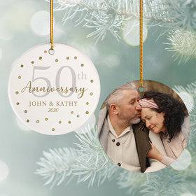 Personalized 50th Anniversary Photo Christmas Ornament