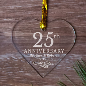 Personalized 25th Anniversary Heart (Etched) Christmas Ornament