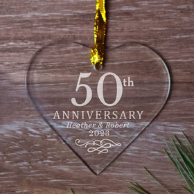 Personalized 50th Anniversary Heart (Etched) Christmas Ornament