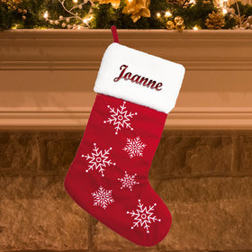 Personalized Christmas Stocking Red Velvet with Snowflakes