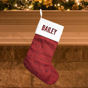 Personalized Christmas Stocking Word Cloud Dog