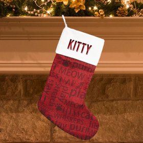 Personalized Christmas Stocking Word Cloud Cat