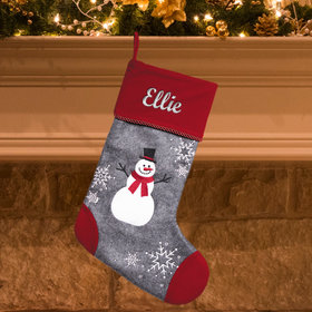 Personalized Christmas Stocking Cap Toe Snowman