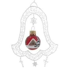 Lace Bell with Red Glass Ball Christmas Ornament