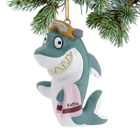 Personalized Beach Shark Christmas Ornament