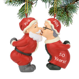 Personalized Kissing Claus' Christmas Ornament