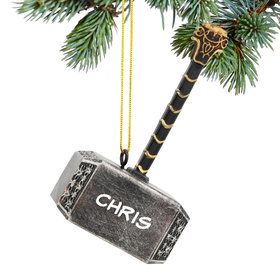 Personalized Thor's Hammer Christmas Ornament