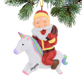 Personalized Unicorn Riding Christmas Ornament