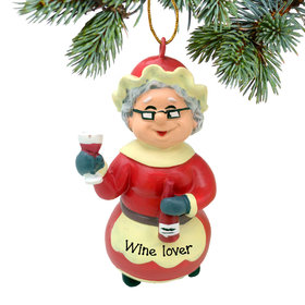 Personalized Wine Mrs. Claus Christmas Ornament