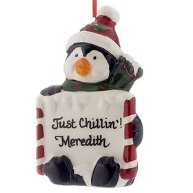 Personalized Holiday Message Ceramic Penguin Christmas Ornament