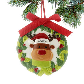 Personalized Ceramic Wreath Reindeer Christmas Ornament