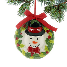 Personalized Ceramic Wreath Snowman Christmas Ornament