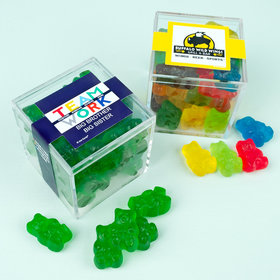 Personalized Business Teamwork JUST CANDY® favor cube with Gummy Bears