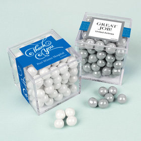 Personalized Business Thank You JUST CANDY® favor cube with Sixlets Chocolate